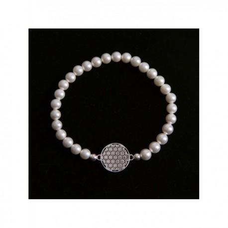 Náramek perlový Květ života postříbřený 18 mm